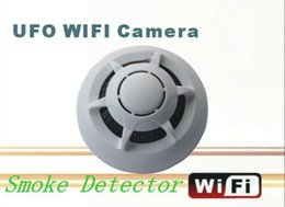 Wholesale wireless smoke detector cameras - WiFi Smoke Detector DVR UFO Wireless mini IP Camera P2P Mini DVR Video Recorder for iPhone ipad Android phone