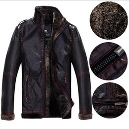 Wholesale Short Brown Leather Jackets - Fall-2015 New Autumn Winter Leather Jacket Men Sheepskin Leather Pilot Jacket Brand Bomber Leather Jacket For Men's Fur Coat Short
