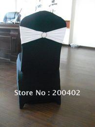 Wholesale Spandex Bands Rhinestone - Wholesale-black spandex chair cover with white rhinestone spandex band