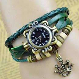 Wholesale Crown Leather Watch - New Arrival Women Watch Korean Goddess Crown Luxury Watch For Womens Multilayer Multicolor Ladies Bracelet Watch