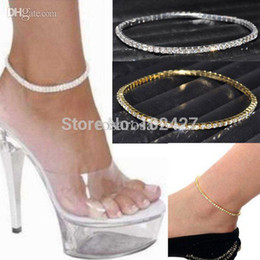 Wholesale Row Stretch Rhinestone Bracelet Crystal - Wholesale-One Row Clear Crystal Tennis Silver Gold Stretch Anklet Foot Chain Leg Bracelet Rhinestone Ankle Bracelet tornozeleira femininas