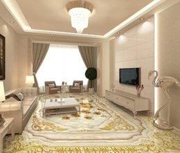 Wholesale Parquet Tiles Flooring - Floor wallpaper for kids room European luxury gold rose marble parquet parquet flooring 3D floor tiles