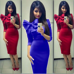 Wholesale Royal Stores - Latest 2016 Fashion Women Formal Evening Dresses Red Royal Blue Special Occasion Dress In Store Bow 3 4 Sleeve Sheath Prom Party Gowns