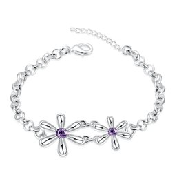 Wholesale Japanese Fashion Wholesale Free Shipping - Fashion Jewelry 925 silver plated charm bracelet with zircon purple flowers sweet Japanese and Korean style top quality free shipping
