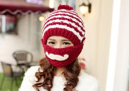 Wholesale Cloche Crochet Wholesale - Fashion knitted crochet beard hat Bomber Hats Skull Beanie cap unisex ear warmer mask cycling sports outdoor warm hats 10colors