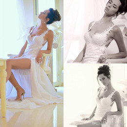 Wholesale Slit Chiffon Floor Length Dress - Sexy Summer Beach Chiffon A Line Wedding Dresses Lace Spaghetti Straps Split Side Backless Bridal Gowns
