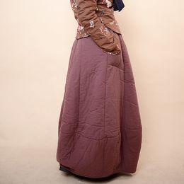 Wholesale Unique Vintage Clothes - Ethnic Chinese Style Winter Thicken Warm Cotton Skirt Vintage Solid Color Mori Girl Long Maxi Skirt Saia Women Unique Clothing