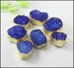 Wholesale Druzy Bracelets - 5pcs Gold plated Nature Druzy stone Connector in Dark Blue color,Quartz Drusy gemstone Connector Pendant Beads Bracelet Jewelry Findings