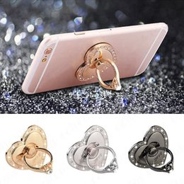 Wholesale Gps For Ipad - Luxury Finger Ring Mobile Phone Stand Holder Metal Mount Bracket Heart Shape For iPhone iPad GPS Car Devices