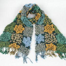 Wholesale White Cotton Square Scarf - Fashion Women Colorful Acrylic Long Scarves Big Small Flower Shawl Square Chevron Knit Stripe Acrylic Scarf
