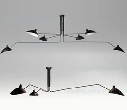 Wholesale White Metal Ceiling Lamp - Serge Mouille Pole Pendent Lamp Sabre Rattling Swing Duckbill Ceiling Lamp Metal Dining Room Ceiling Lamp mechanical design light 3 6 heads