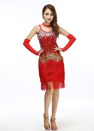 Wholesale Latin Dress Fringe Black - 2018 Women Bling Latin Dance Fringe Dress Sexy Rainbow Color Club Slip Gradient Sequin Dress With Tassel Vestido Robe Paillettes