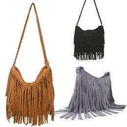 Wholesale Camel Suede Handbag - 2015 New Fashion Tassel Women Shoulder Bags Women's Hot Sale Suede Fringe Designer Handbags Ladies Messenger Bags Free Shopping.