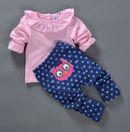 Wholesale Baby Boys Owl Clothes - New Spring Baby Girl Clothes Set Top+Polka Dot Pants 2 Pieces 100% Cotton Cat Owl Pattern Good Quality 4 s l