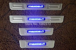 Wholesale led illuminated door sills - S.Steel Illuminated LED Door Sill Scuff Plates Cover For Mazda 6 M6 Atenza 2014+