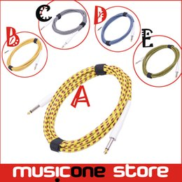 Wholesale Audio Connection Cables - 5pcs YMH 3M High Anti-interference Performance Instrument Guitar Bass 6.5mm Male to Male Audio Connection Cable Cord Mu0594