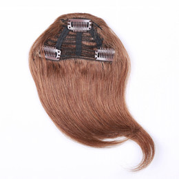 Wholesale Light Brown Clip Human Hair - 7 Inch #1 #1b #2 #4 #27 #613 Combination Human Hair Extension Fringe Hair Clips in Easy Apply 3 Clips pcs Human Hair Bangs