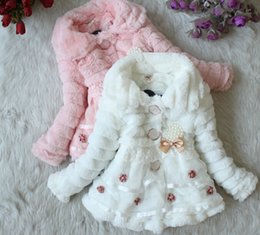 Wholesale Baby Kids Down Coat Jacket - New Children Outwear Toddlers Girls Winter Coat Junoesque Baby Faux Fur Fleece Lined Coat Kids Jackets Coats 18908 Z