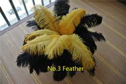 Wholesale Gold Centerpiece Feathers - Wholesale 200 pcs 12-14inch Gold and black ostrich feather plumes for wedding centerpiece festive party table supplies feather costumes