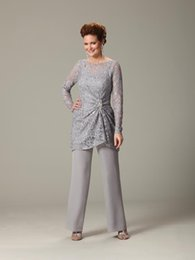 Wholesale Dark Gray Suits - New Arrival Wedding Pants Suits For Mother Bride Custom Made Mother Of Bride Dresses Chiffon And Lace Gray Mother Dresses Cheap 2017
