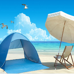 Wholesale Cheap Outdoor Tents - Wholesale- Outdoor Cheap Camping Waterproof Rain-proof Sun Shelter Awnings Anti-UV Semi-open Half-open Beach Sunshade Tent 3 Person