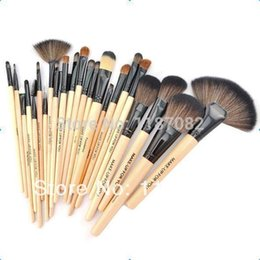 Wholesale Free Shipping Make Up Cases - Professional 24 Makeup Brush Set tools Make-up Toiletry Kit Wool Brand Make Up Brush Set Case free shipping