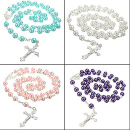 Wholesale Pearl Rosaries - Wholesale-Best Quality Long Rosary Chain Imitate Pearl Ball Beads Beach Pendant Necklace Silver Drop Cross 5 Colors 5TOK