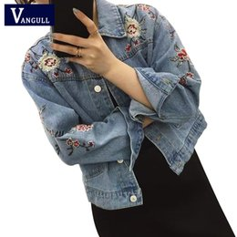 Wholesale Ladies Frayed Jean Shorts - Wholesale- Embroidered short denim jacket women 2017 Spring Autumn Winter ladies long sleeve jacket coat Fashion female jean jacket outwear