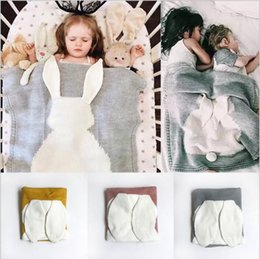 Wholesale Ear Beds - Baby Blankets INS Rabbit Ear Swaddling Knitted Animal Bedding Toddler Fashion Swaddle Newborn Bunny Cartoon Wrap Crochet Blanket Quilt B3500