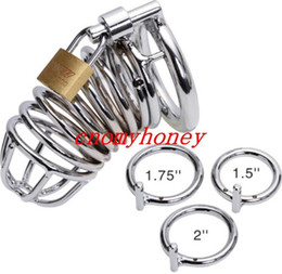 Wholesale Toys Men Device Bondage - 2015 new stainless steel lockable male bondage cock cage penis ring cage, dildo cage rings, sex toys for men, chastity devices