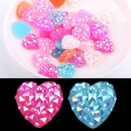 Wholesale Heart Bathroom Accessories - Diy 40pcs Ab Resin Heart Flatback Scrapbooking For Phone Wedding Pick Color Accessories HG-1347 BR