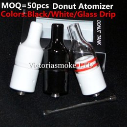 Wholesale Wholesale Element Vapor - Black White Glass Donut Cearamic Atomizer huge vapor ceramic donut atomizer for wax, no coil no wick ceramic heating element vaporizer ecigs