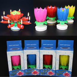 Wholesale Lotus Flowers Wholesale - 2 layer petals flowering Music candle Birthday Party Wedding Lotus Sparkling Flower Candles light Event Festive Supplies cake accessory