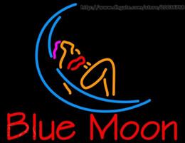 enseignes au néon de bière de lune bleue Promotion Blue Moon Lady Orange Bière Au Néon Signe En Verre Véritable Tube Tube Disco KTV Club Motel Hôtel Signe D'affichage 17