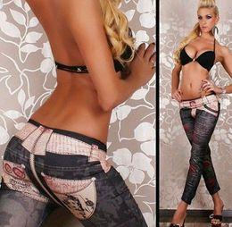 Wholesale Tattoos Leggings - East Knitting FREE SHIPPING A62 leggings fashion 2014 Women Belt tattoo Jeans jeggings womans printed pants drop shipping