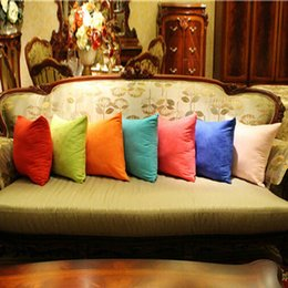 Wholesale Micro Pillow - Wholesale- Candy Color Pillow Case Soft Micro Suede Cover Bedroom Throw Pillowcase Home Bed Supplies LY2