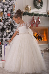 Wholesale Royal Princess Evening Dresses - White Christmas Flowergirl Dresses Short Sleeve Lace Ball Gowns for Wedding Ruched Lovely Bow Sash Princess Evening girl Pageant Dress