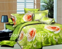 Wholesale Apple Green Duvet Cover - unique bed bedding set flower blossom green apple fruit oil painting polyester duvet cover sheet pillowcase comforter sets full