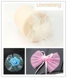"Wholesale Spools Tulle Wholesale - New Arrivals-4 Rolls 6""x100y Ivory Color Tulle Rolls Spool Tutu DIY Craft Wedding Banquet Fabric Wedding Car Decor"