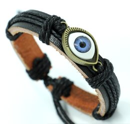 Wholesale Mexican Braided Bracelets - Fashion Turkey Blue eyes Leather Bracelets hemp braided alloy hande for men and women bracelets lucky Jewelry