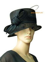 Wholesale Small Brim Summer Hats - Black small Sinamy Hat Church hat ladies hat.