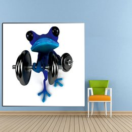 Wholesale Oil Painting Canvas Body - 100%Handmade Abstract Wall Art Modern Blue Frog Do Body pump Abstract Decor Lovely Animal Oil Painting On Canvas For Home Decor