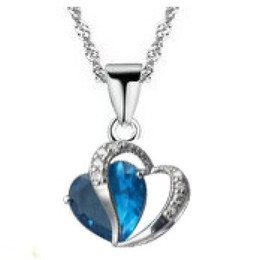 Wholesale Neclace Pendants - necklaces & pendants Wholesale (30 pcs lot) Platinum-Plated Neclace w  Double Hearts Pendant Best Zircon Free Shipping