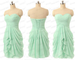 Wholesale Feather Bridesmaid Dresses - Mint 2018 Bridesmaid Dresses Cheap Real Image Homecoming Dresses Ruffle Sweetheart Neck Plus Size Lace Up Back Chiffon Formal Party Gowns