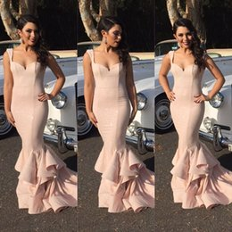 Wholesale green silk ribbon - 2016 blush Pink New iBridesmaid Dress Maid Of Honor Gowns For Wedding Sweetheart Appliques Mermaid Lace Chapel Train Cheap