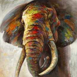 Wholesale Hand Painted Elephant - African Animal Wild Elephant Picture Hand-painted Oil Painting on Canvas Mural Art for Office Home Living Bedroom Wall Decoration
