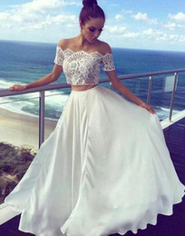 Wholesale colorful crop tops - 2018 Beach Two Pieces Crop Top Beach Bohemian Wedding Dresses Chiffon Ruched Floor Length Wedding Gowns Cheap Lace Short Sleeves BA7422