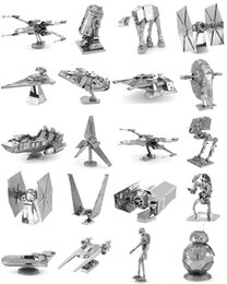 Wholesale Tied Models - Metal 3D metal assembly Toy model DIY millennium falcon R2B2 Robot Tie Fighter 3D Metallic Nano building puzzle free DHL