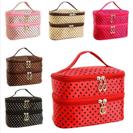 Wholesale Makeup Bag Dots - Double Layer Small Dots Makeup Cosmetic Make Up Organizer Bag Box Case Women Men Casual Travel Multi Functional Tool Storage Handbag SPO2022