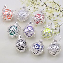 Wholesale Locket Necklace Set - Mexican Bola Silver Pendant Necklace Angel Callers Sound Chime Necklace Harmony Ball Lockets Random Color Free Shipping 1 Set